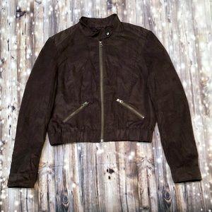 Elle brown suede-like material crop jacket